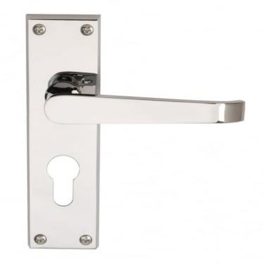 Victorian Straight Polished Chrome Lever On Backplate Handle