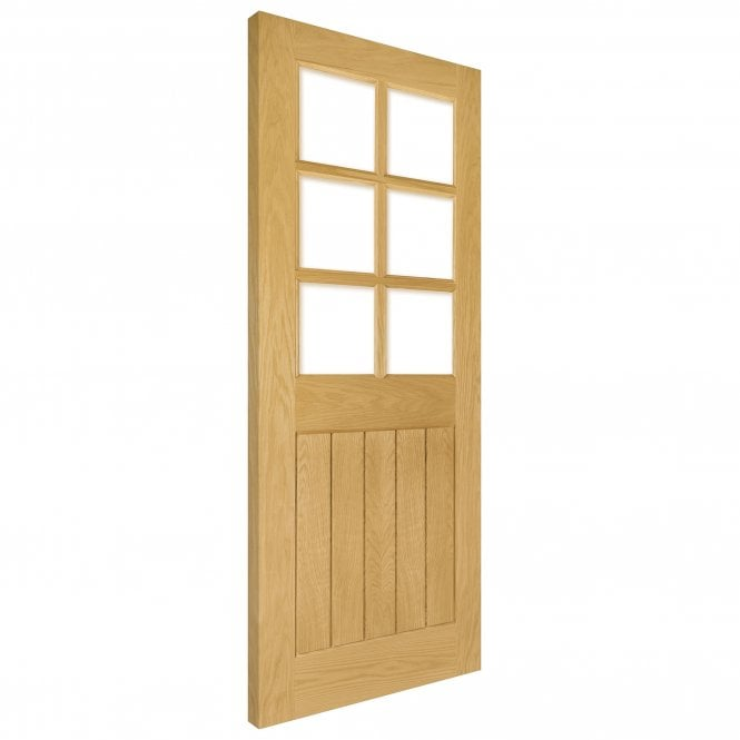 Deanta Ely Pre-Finished Internal Oak Door with Clear Bevelled Glass