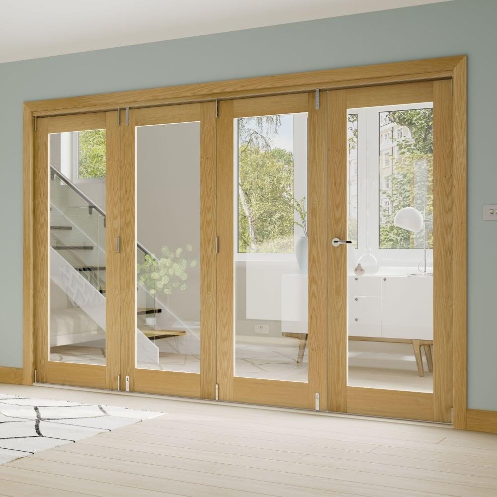 Fold Oak Fully Finished Room Divider Frame & Interior French Doors | Internal Room Dividers | Leader Doors