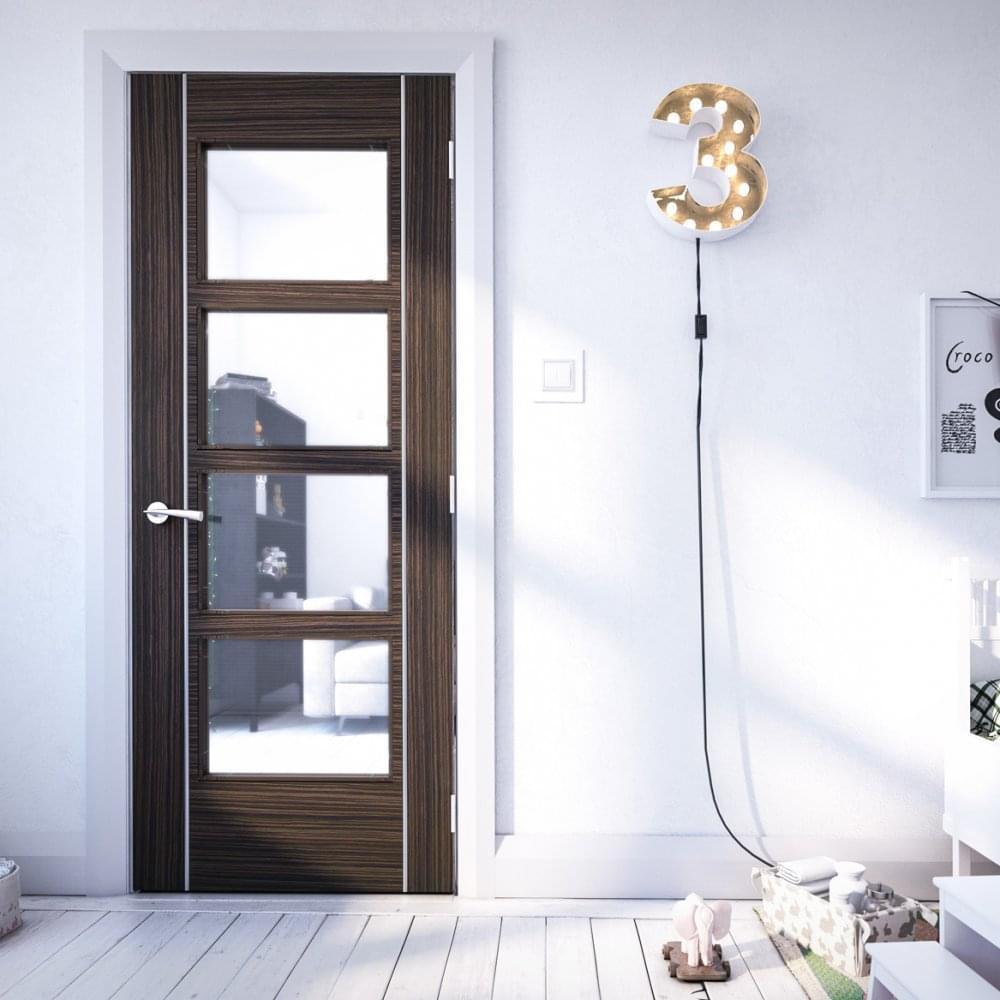 Deanta Internal Abachi Pre Finished Calgary Glazed Door Leader Doors