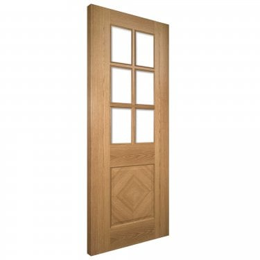 Internal Oak Fully Finished Kensington 1L Solid Door with Clear Bevelled Glass