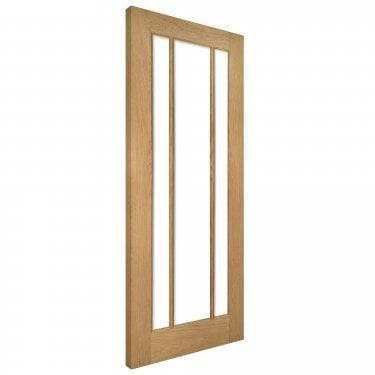 Internal Oak Unfinished Norwich 3L Solid Door with Clear Bevelled Glass