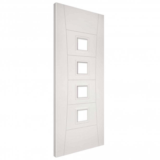 Deanta Internal White Primed Pamplona 4L Solid Door with Clear Glass