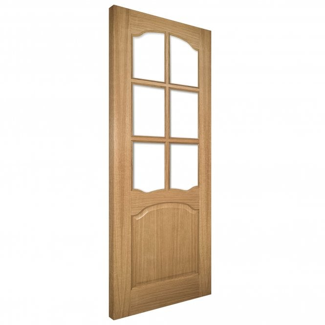 Deanta Louis Un-Finished Internal Oak Door with Clear Bevelled Glass