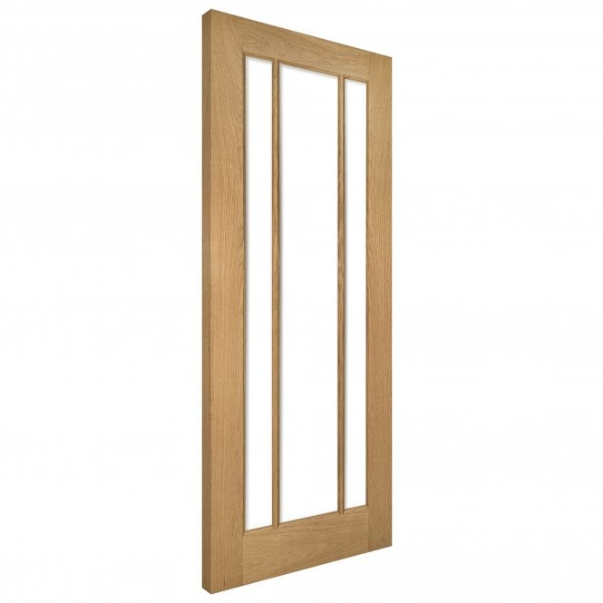 Deanta Norwich Un-Finished Internal Oak Door with Clear Bevelled Glass