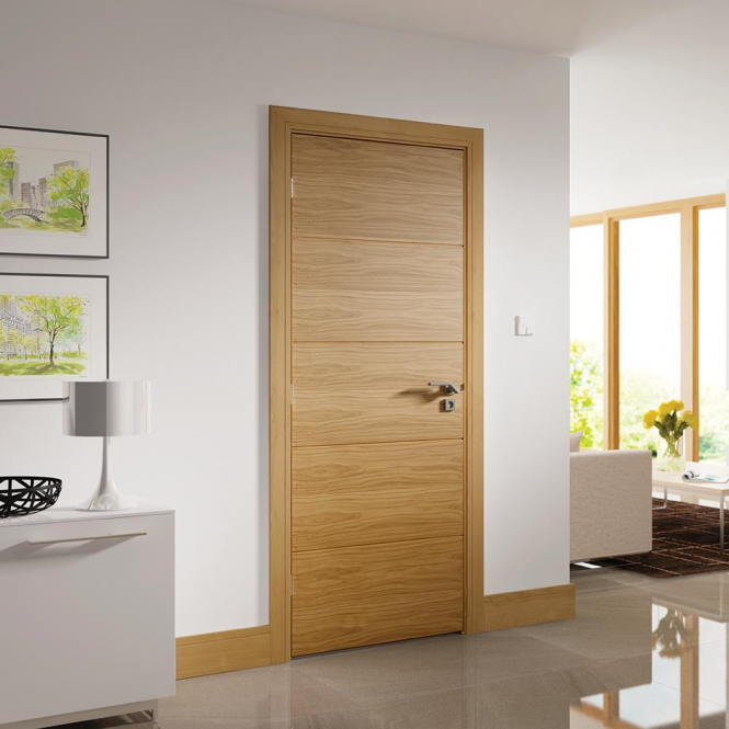 Oak Fully Finished Shaker Skirting Set (SKOKSH) & Deanta Shaker Pre-Finished Oak Skirting Set | Leader Doors