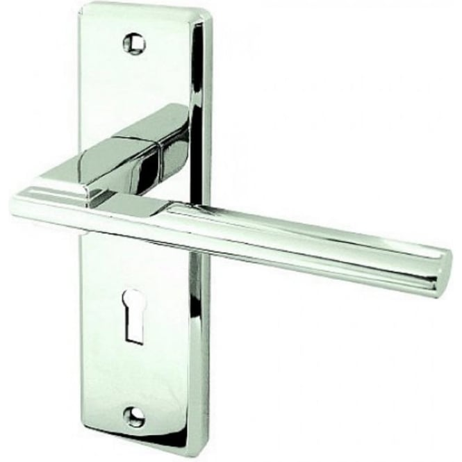 Frelan Hardware Delta JV3003PC Polished Chrome Lever Lock On Backplate Handle