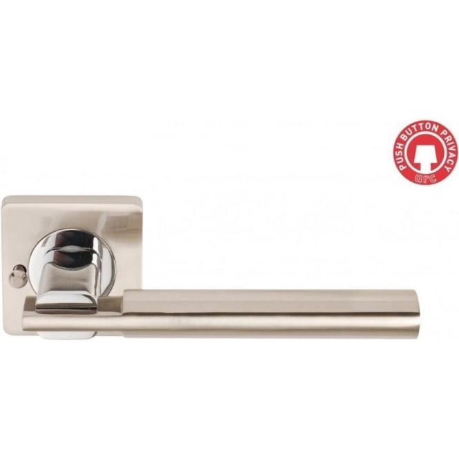 Dale Hardware Designer Chronos Two Tone Lever on Square Rose Door Handle With Privacy Lock
