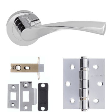 Eco Aqua Lever On Round Rose 3'' Latch Handle Pack, Polished Chrome (ECO20PC-3-LATCH-PACK)