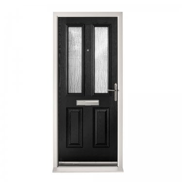 Extermal Black Malton Pre-Hung Composite Door Set with Obscure Glass (CDSMAL-CDSBLACK)
