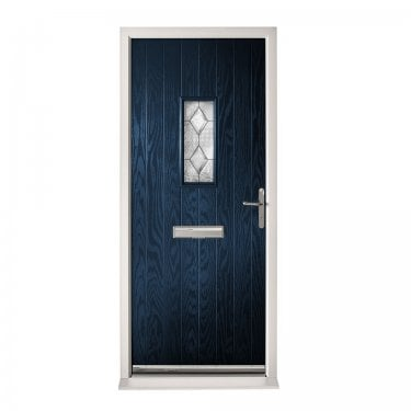 Extermal Blue Chancery Pre-Hung Composite Door Set with Decorative Glass (CDSCHADEC-CDSBLUE)