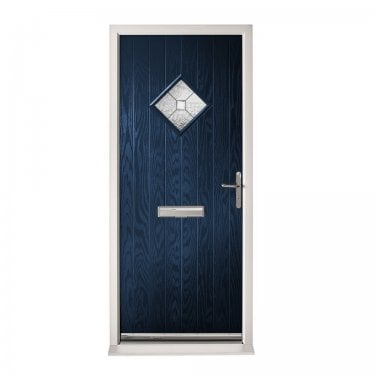 Extermal Blue Hereford Pre-Hung Composite Door Set with Decorative Glass (CDSHERDEC-CDSBLUE)