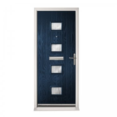 Extermal Blue Siena Pre-Hung Composite Door Set with Obscure Glass (CDSSIE-CDSBLUE)
