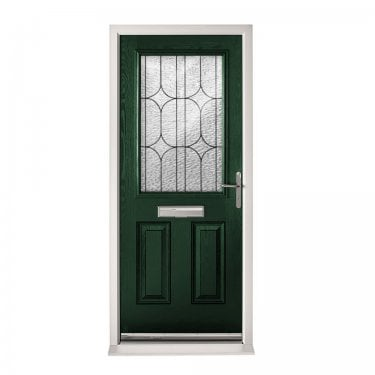Extermal Green 2XG Pre-Hung Composite Door Set with Decorative Glass (CDSXGDEC-CDSGREEN)