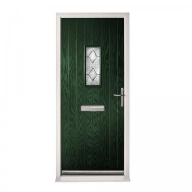 Extermal Green Chancery Pre-Hung Composite Door Set with Decorative Glass (CDSCHADEC-CDSGREEN)
