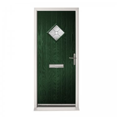 Extermal Green Hereford Pre-Hung Composite Door Set with Decorative Glass (CDSHERDEC-CDSGREEN)