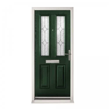 Extermal Green Malton Pre-Hung Composite Door Set with Decorative Glass (CDSMALDEC-CDSGREEN)