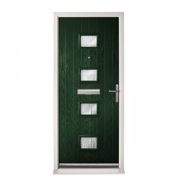 Extermal Green Siena Pre-Hung Composite Door Set with Obscure Glass (CDSSIE-CDSGREEN)