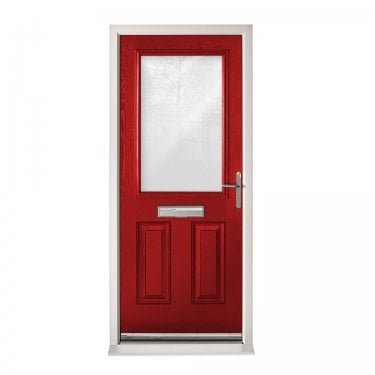 Extermal Red 2XG Pre-Hung Composite Door Set with Clear Glass (CDSXGCLR-CDSRED)