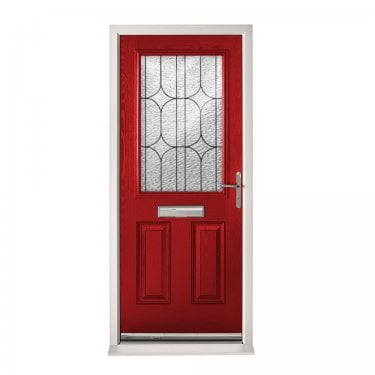 Extermal Red 2XG Pre-Hung Composite Door Set with Decorative Glass (CDSXGDEC-CDSRED)