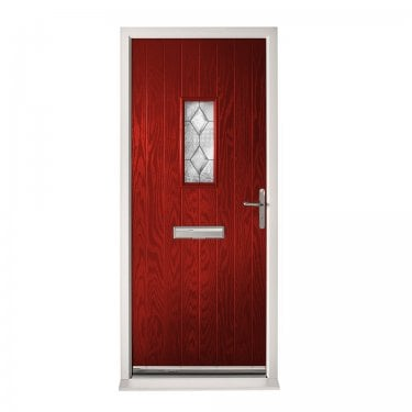 Extermal Red Chancery Pre-Hung Composite Door Set with Decorative Glass (CDSCHADEC-CDSRED)