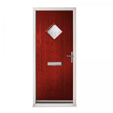 Extermal Red Hereford Pre-Hung Composite Door Set with Obscure Glass (CDSHER-CDSRED)