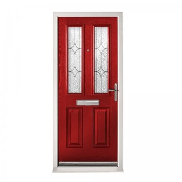 Extermal Red Malton Pre-Hung Composite Door Set with Decorative Glass (CDSMALDEC-CDSRED)