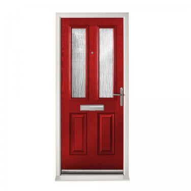 Extermal Red Malton Pre-Hung Composite Door Set with Obscure Glass (CDSMAL-CDSRED)
