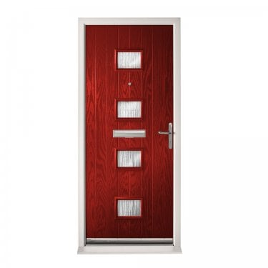 Extermal Red Siena Pre-Hung Composite Door Set with Obscure Glass (CDSSIE-CDSRED)