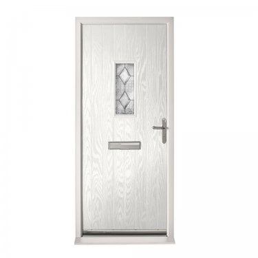 Extermal White Chancery Pre-Hung Composite Door Set with Decorative Glass (CDSCHADEC-CDSWHITE)