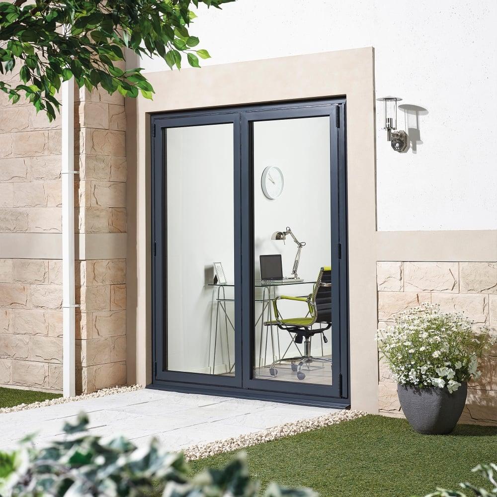 Lpd external alu sliding door set grey leader doors for Patio doors folding sliding