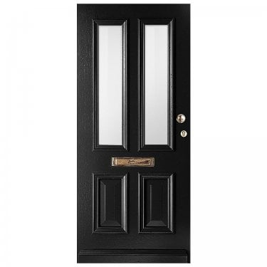 External Avondale Jet Black Fully Finished 2L Solid Door with Obscure Glass (WK1122-RAL9005-OBSCURE)