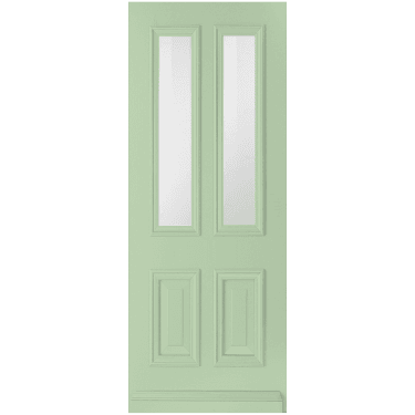 External Avondale Pastel Green Fully Finished 2L Solid Door with Clear Glass (WK1122-RAL6019-CLEAR)