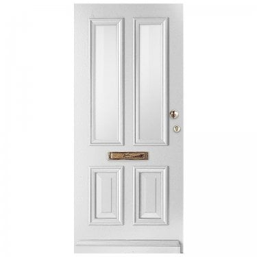 External Avondale Pure White Fully Finished 2L Solid Door with Clear Glass (WK1122-RAL9010-CLEAR)