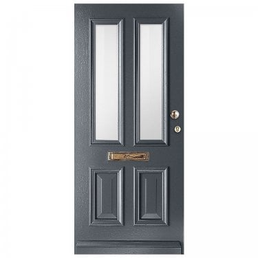 External Avondale Slate Grey Fully Finished 2L Solid Door with Clear Glass (WK1122-RAL7015-CLEAR)