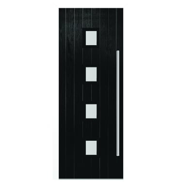 External Black Composite Milton Door with White Frame