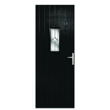External Black Composite Speedwell Door with White Frame