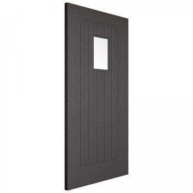 External Charcoal Grey Fully Finished Embossed Suffolk 1P 1L Door (EMBSUFGLCGR)