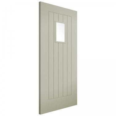External French Sage Fully Finished Embossed Suffolk 1L Door (EMBSUFGLFRS)
