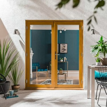 External Golden Oak Fully Finished Kinsley French Patio Doors with Clear Double Glazing (KSYO)