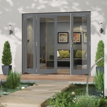 External Grey Paint Grade Darwin Sliding Folding Patio Door (HDAR)