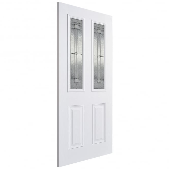 LPD External GRP White Malton Door with Double Glazed Leaded Glass