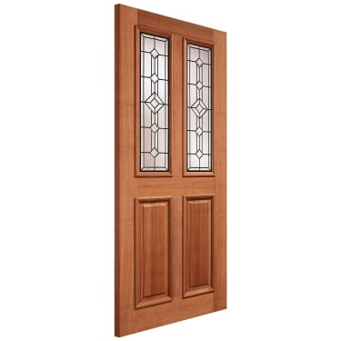External Hardwood Unfinished Derby 2L Door with Double Glazed Leaded Glass (MTDERTGL)