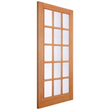 External Hardwood Unfinished SA77 15L Door with Double Glazed Clear Glass (MTSAXCGDG)
