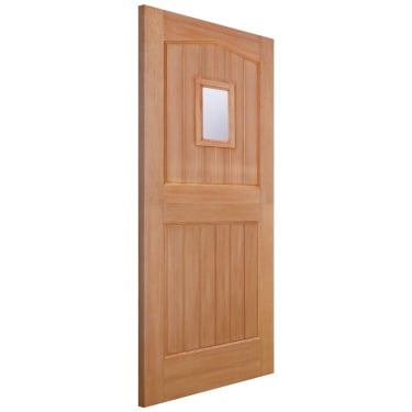 External Hardwood Unfinished Stable 1L Door with Double Glazed Clear Glass (MTBARCGDG)