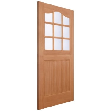 External Hardwood Unfinished Stable 9L Door with Double Glazed Clear Glass (MTSTACGDG)