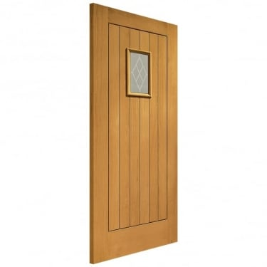 External Oak Fully Finished Chancery 1L Door with Double Glazed Decorative Glass (PFDGOCHAN)
