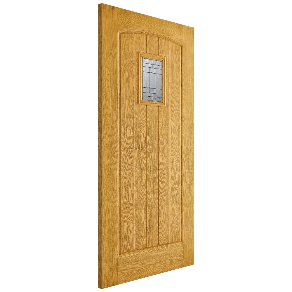 on sale 82b00 d4608 External Oak Fully Finished Cottage GRP Door with Double Glazed Leaded  Glass (GRPCOTOAK)