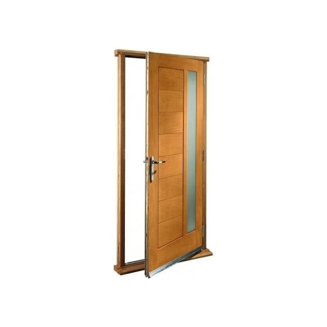 XL Joinery External Oak Modena Timber Doorset with Obscure Glass