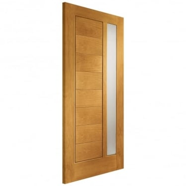 External Oak Modena Timber Doorset with Obscure Glass